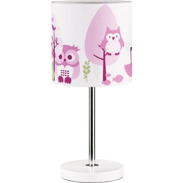 Gyerek asztali lámpa – rózsaszín bagoly